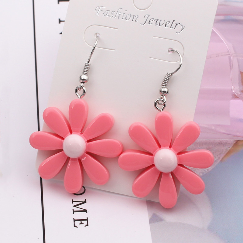 New Design Sweet Daisy Flower Stud Earrings Cute Statement Earring Jewelry For Girls Gift For Woman Red Pink Color Brincos