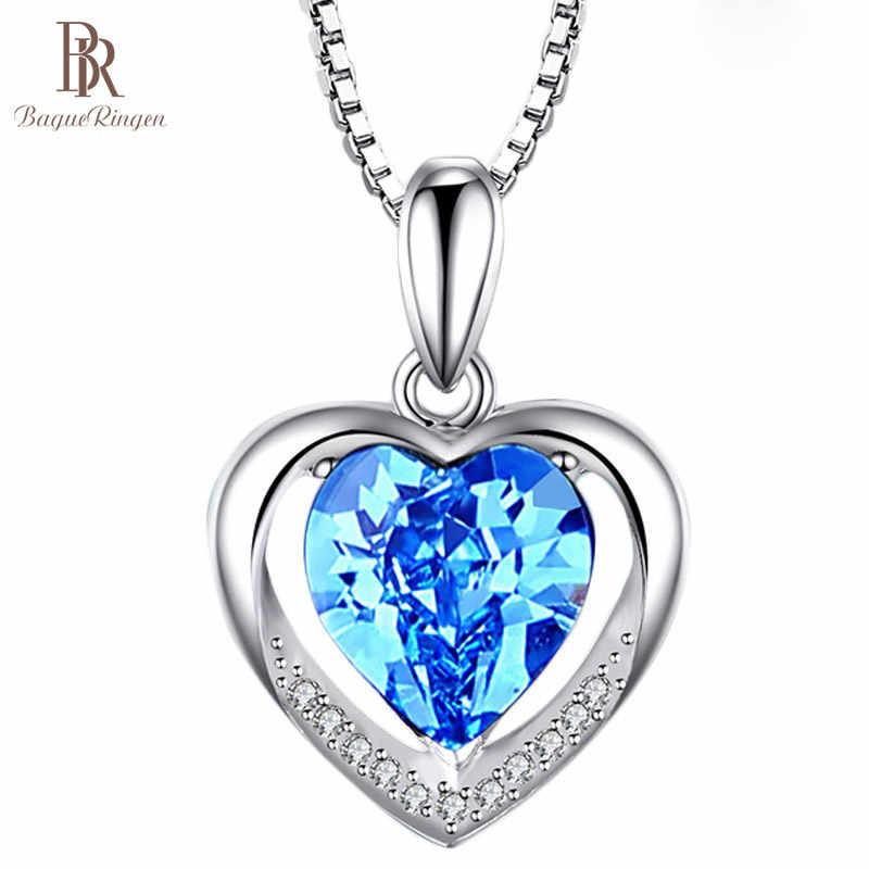 Bague Ringen טמפרמנט 5 צבעים אופציונלי לב בצורת חן תליון לנשים Cordiform כסף 925 תכשיטי אירוסין מתנה