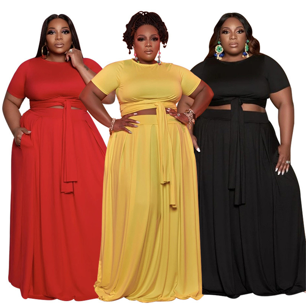 Plus Size Women Clothing Two Piece Fashion Round Collar Tops Loose Bandage Pocket Swing Maxi Skirt Suits Wholesale Dropshipping