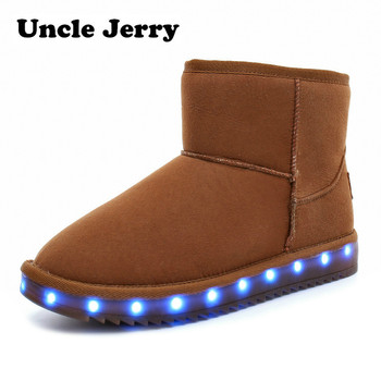 UncleJerry 2019 Winter Child Snow boots boys girls LED shoes warm fur high-top light up Women Boots