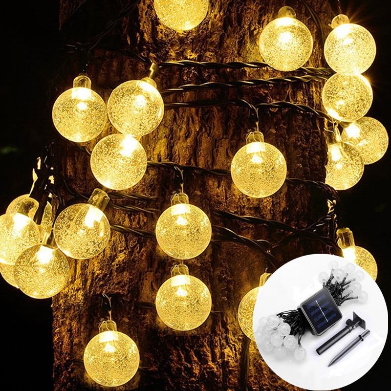 20/50 LEDS Garden Decoration Outdoor Crystal Bal String Fairy Lights Solar Led Garland Christmas Solar Led Light Outdoor
