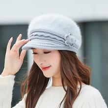 Rabbit Fur Knitted Bonnet Cap