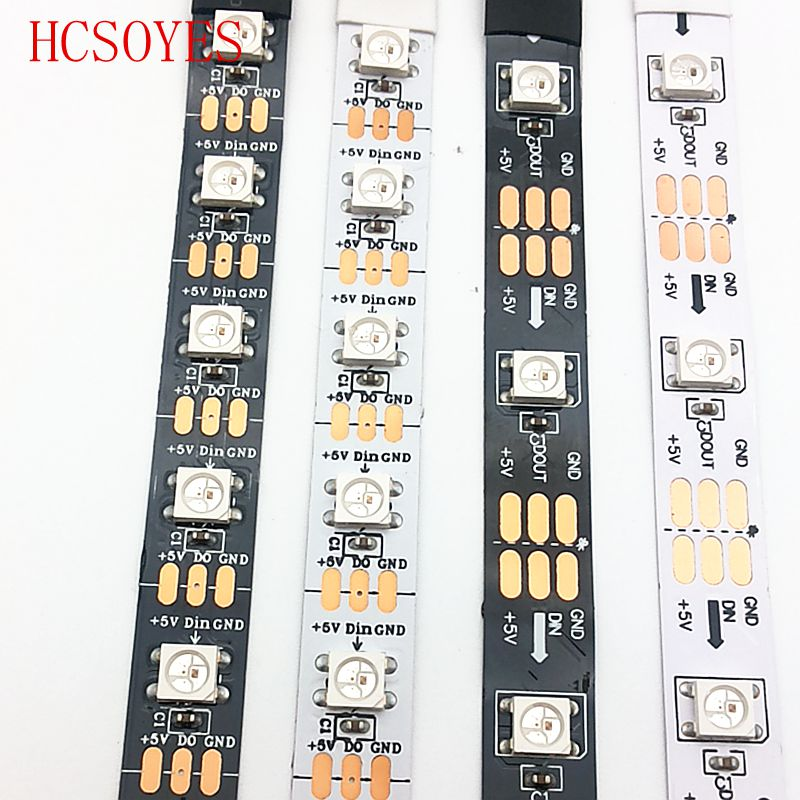 DC 5V 1m/5m Roll Ws2812b Ws2811ic Built-in 5050 Smd Rgb Strip Individually Addressable 30/60/144/m Led Pixel Black/White PCB