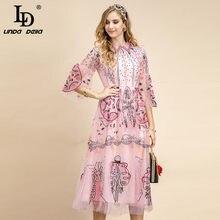 LD LINDA DELLA Fashion Designer Summer elegante abito da festa colletto rovesciato sontuoso abito longuette Vintage ricamato a rete