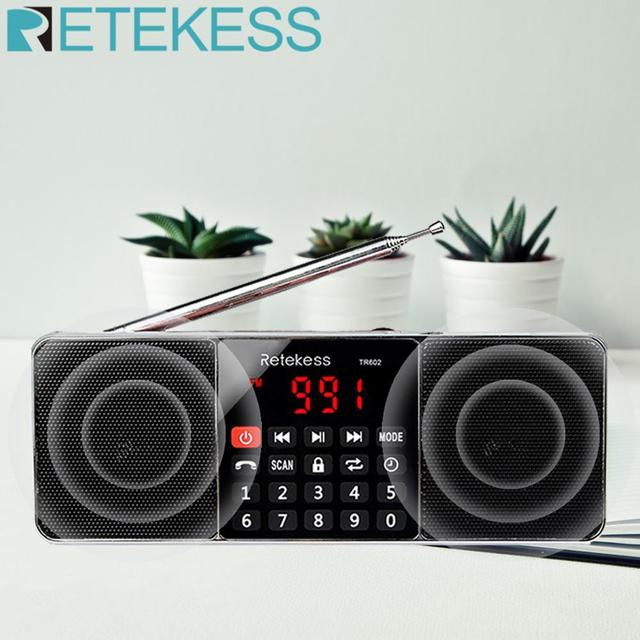 RETEKESS TR602 디지털 휴대용 AM FM 라디오 블루투스 스피커 AUX 스테레오 MP3 플레이어 TF/SD 카드 수면 타이머 USB 드라이브 LED 디스플레이