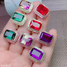 KJJEAXCMY Fine Jewelry 925 Sterling Silver Amethyst Amethyst Green Crystal Red Corundum Ring Set Geometric Square Gold Rose Gold(China)