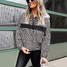 Moletom feminino hoodies moda manga longa leopardo impresso com capuz com decote em v pulôver outono camisola blusa tops streetwear 40