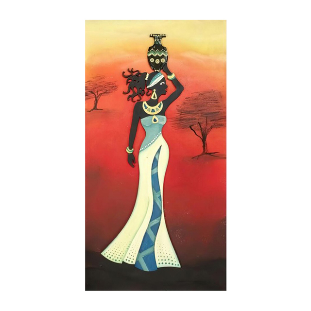 Beautiful African Woman Art Black and Gold Colour Paintings Printed on Canvas 8