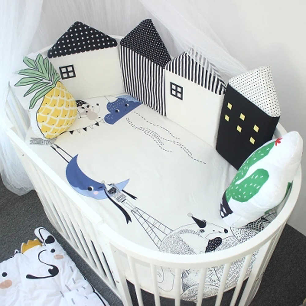 4 шт. Детская кровать бампер Удобная Защита Детские подушки кровать забор детская колыбель Детские бортики для кроватки Милый хлопковый Комбинированный дом