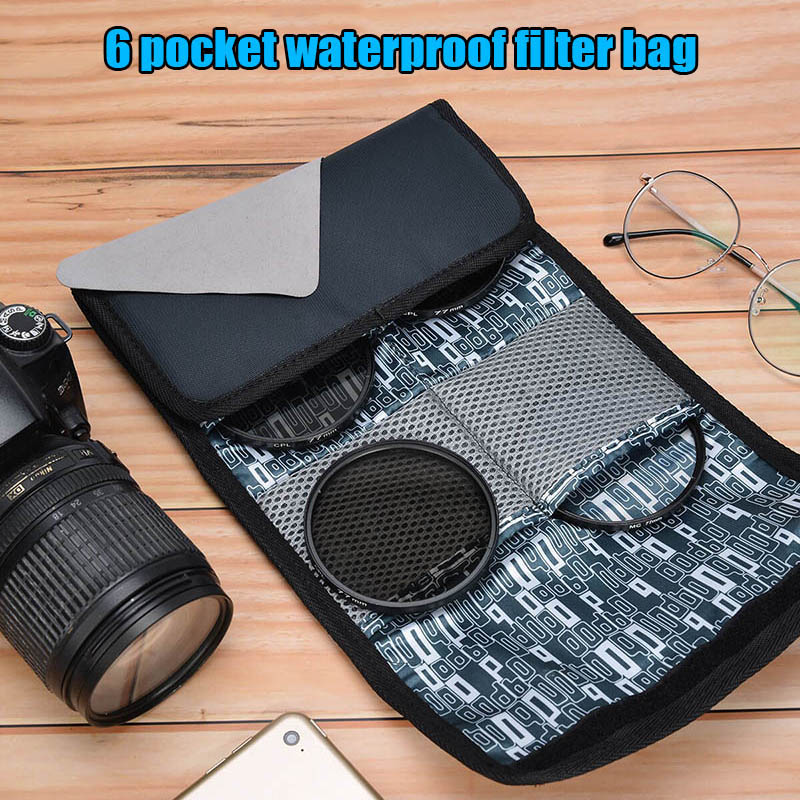 Waterproof Filter Case 6 Pocket Camera Filter Lens Pouch For 25mm-86mm Filters J9