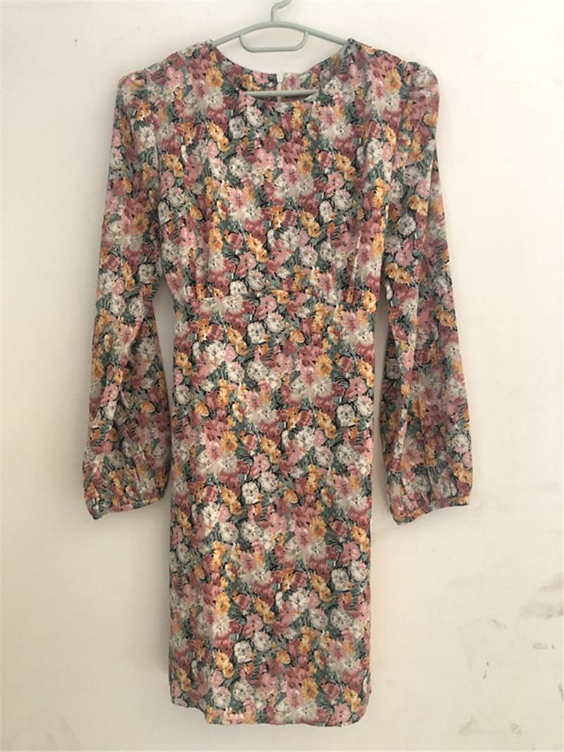 Hc956b02ad15a445eae5c9de712500221D - Spring Korean O-Neck Long Sleeves Floral Print Drawstring Slim Mini Dress