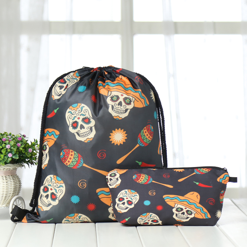 Drawstring Suit Backpack Drawstring Bags Fashion Halloween Printing  Men Casual Bags Unisex Women's Shoulder 3D Bag Factory New