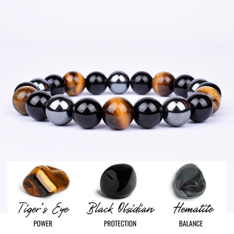 Fashion Natural Stone Bracelet Tiger Eye Triple Protection Hematite and Obsidian Bracelet Health Balance Healing Soul Jewelry