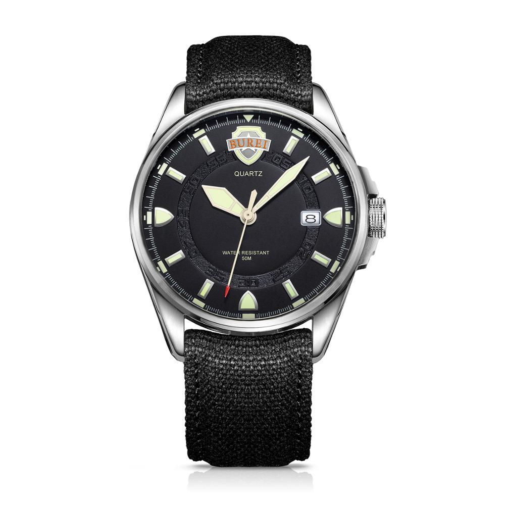 BUREI Mens Watches Fashion Casual Black Quartz Watch Men Unique Dial Sport Military Waterproof Male Clock Relogio Masculino