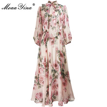 Dress Women Rose Floral-Print Moaayina Spring Summer Elegant Fashion Designer Bow-Collar