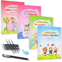 4 books Set of Magic Copybooks, Reusable Children's Calligraphy, English Exercise Book, Lettering Groove Painting Picture Book