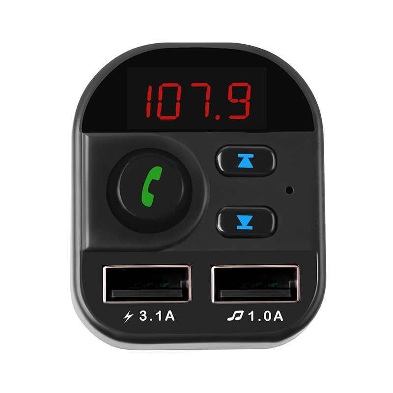 FM الارسال بلوتوث سيارة لاسلكي FM الارسال MP3 محول للراديو مع 3.1A المزدوج USB شاحن سريع
