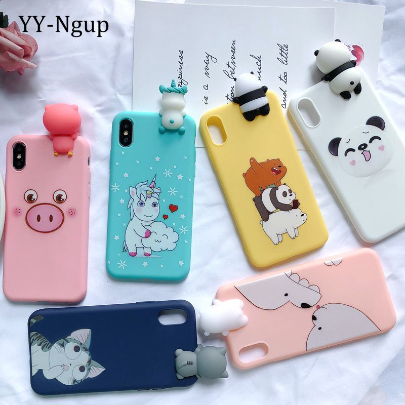 5S SE 2020 3D Case for iPhone XR iPhone 7 Case Etui Unicorn Kawaii Cover for