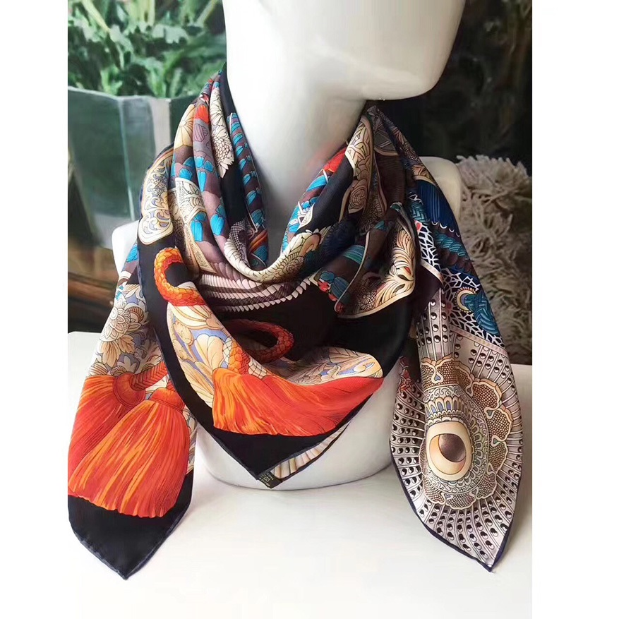 100% Silk Scarf Hijab Head Scarves For Hair Wrapping Large Square Silk Twill Scarfs Shawl Wraps Hand Roll 88x88cm