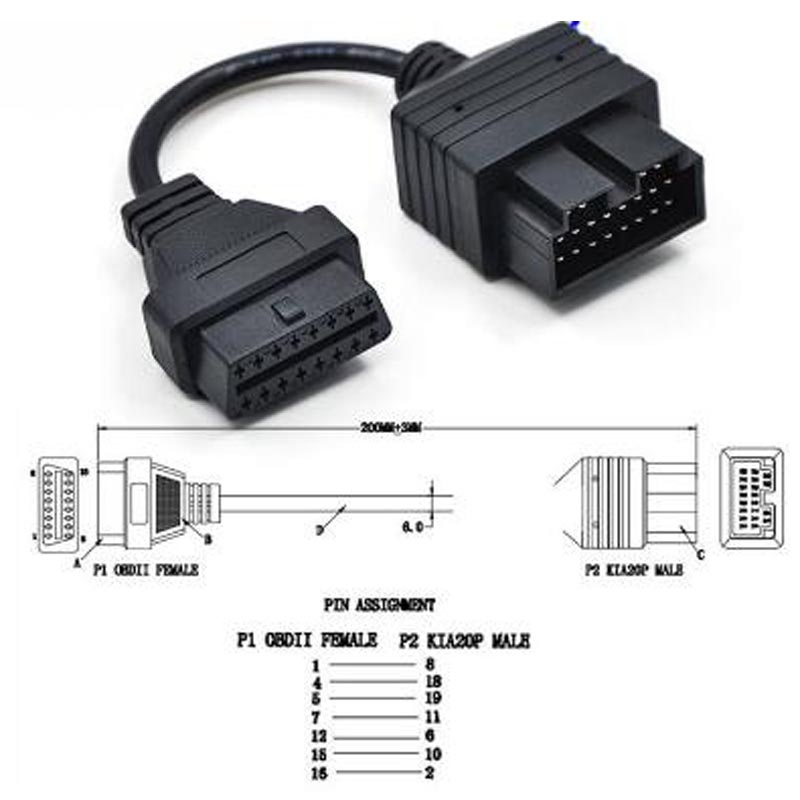 <font><b>ELM327</b></font> OBD 2 Cable For KIA 20 Pin To 16 Pin <font><b>OBD2</b></font> OBD Diagnostic Tool <font><b>Scanner</b></font> Code Reader Adapter Car Connector Cable image