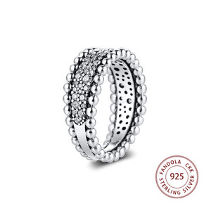 Image 4 - 2020 Valentines Beaded Pave Band Ring femme 925 Sterling Silver Clear CZ Wedding Rings for Women Fashion Jewelry anillos mujer