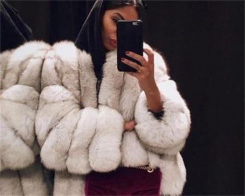 Vintage Fluffy Faux Fur Coat Women Short Furry Fake Fur Winter Outerwear Pink Grey Coat Autumn Casual Party Overcoat