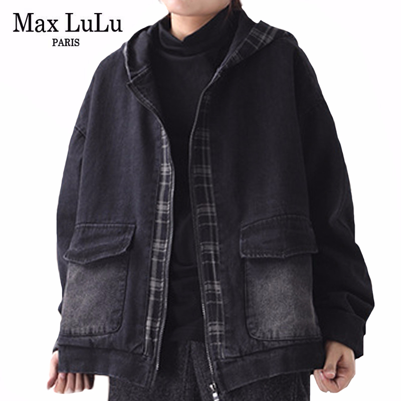 Max LuLu 2020 New Spring Korean Fashion Style Ladies Loose Tops Hooded Patchwork Denim Shirts Vintage Casual Blouses Plus Size