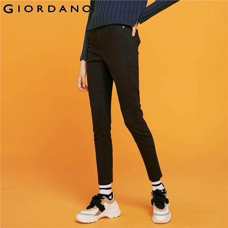 Giordano Women Denim Jeans Slim Cutting Slight Stretchy Hight Waist Jeans Trousers Black Color Vaqueros Mujer 05429335