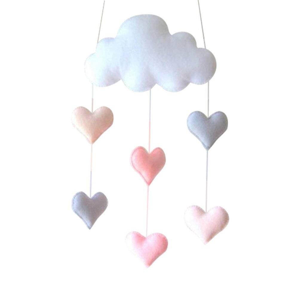 Ceiling Loving Heart Pendant Gift Baby Cloud Home Decor Hanging Mobile Felt Children Bedroom
