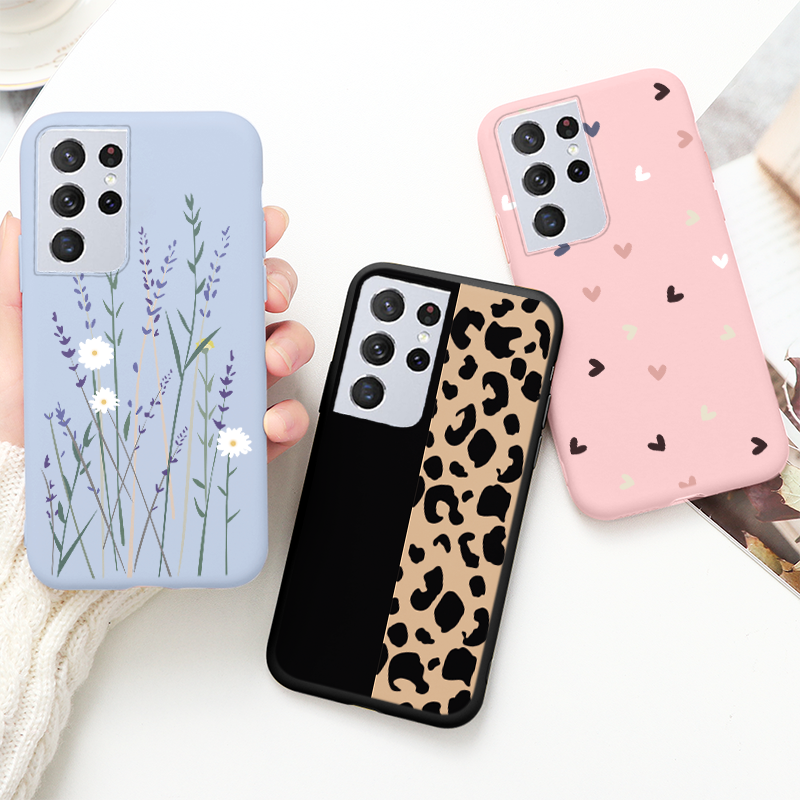 Cute Cat Phone Case For Samsung Galaxy S21 Ultra Plus 5G S30 Case Beautiful Flower Cover For Samsung S 21 Ultra S21+ Back Capa