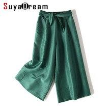 Женские брюки с широкими штанинами 50% натуральный шелк 50% хлопок телячья длина брюки Новые однотонные Зеленые офисные женские брюки осень-зима