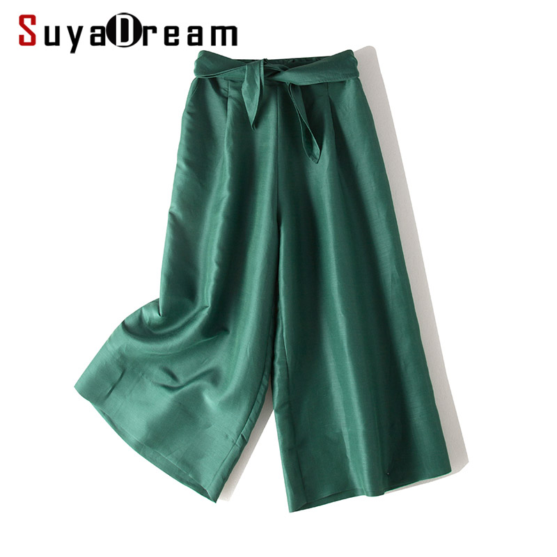 Women Wide Leg Pants 50%Real Silk 50%Cotton Calf-Length Pants 2020 New Solid Green Office Lady Spring Trousers