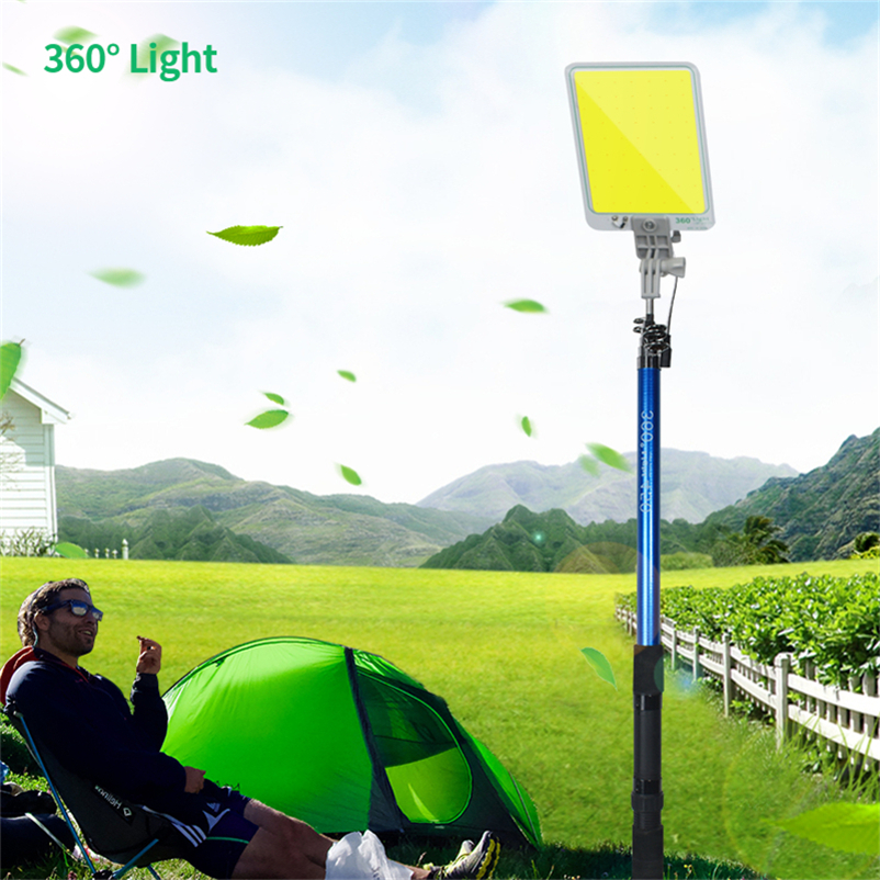 Portable Outdoors Road Travel LED Camping Floodlights Lamp Emergency Lamp Ip65 COB Rechargeable Dimmable 4.5m Telescopic Post
