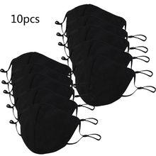 10Pcs Adult Black Mouth Mask Adjustable Dust Proof   Mask Cotton Mouth Mask Washable Reusable Outdoor Face Masks