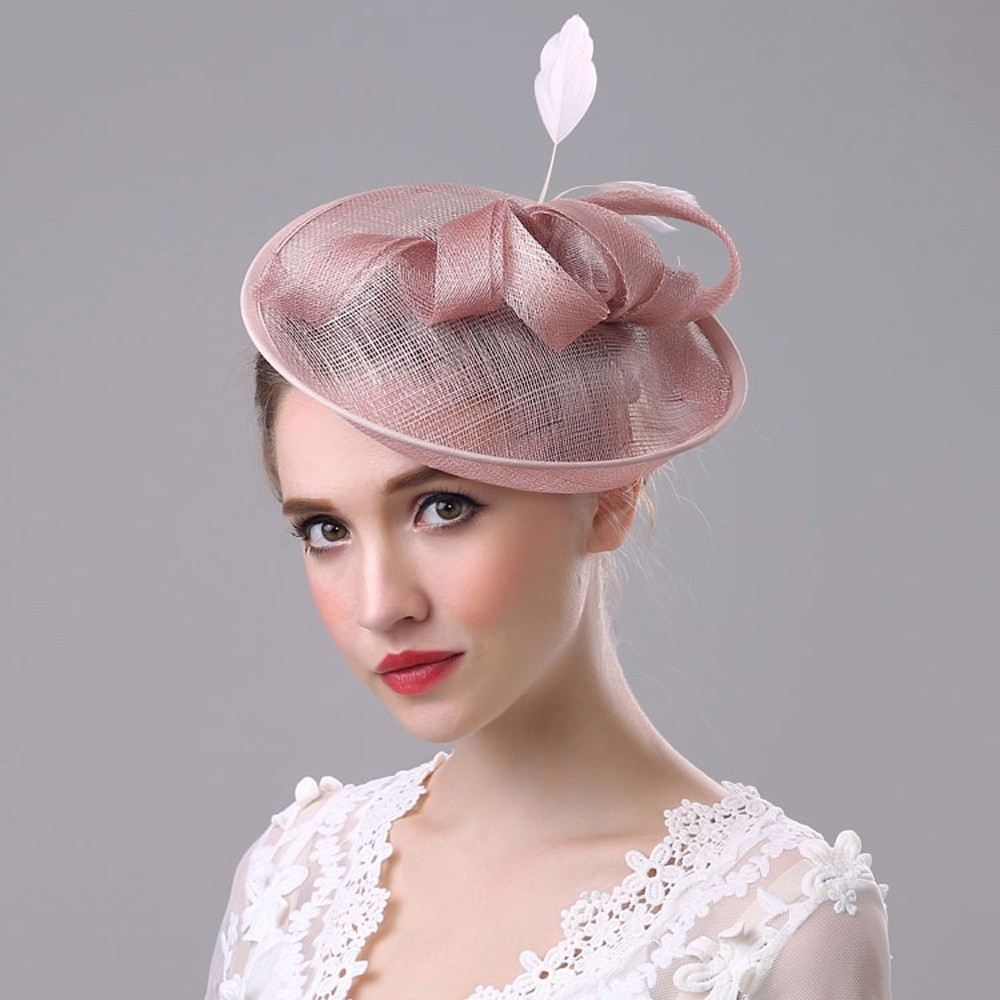 2019 New Elegant Lady Wedding Party Hat Women Bow Net Mesh Bridal Headdress Hemp Hat Specially Designed Pretty Chapeau Mariage