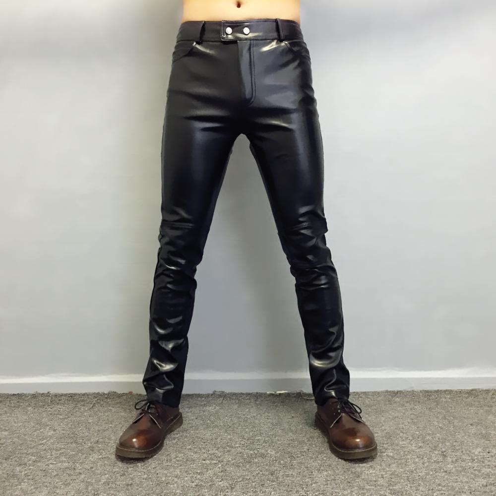 Mode coréenne pantalons en cuir slim hommes simple locomotive section mince pantalons en cuir hommes bottes décontractées pantalons