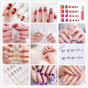 24 PCS Shining Rhinestone False Nails Transparent Lace Designed Square Full Short Fake Nails Nep Nagels image