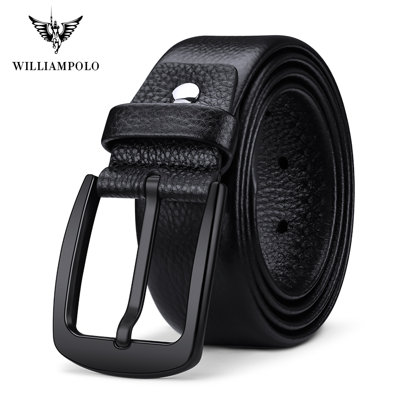 DP 1 Williampolo Leather Belts Men Pin Buckle Male Waistband Black 100 Genuine Leather Men s