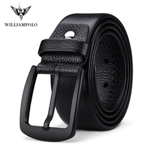 DP 1 Williampolo Leather Belts Men Pin Buckle Male Waistband Black 100% Genuine Leather Men's Belt PL19691P
