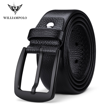 Williampolo Leather Belts Men Pin Buckle Male Waistband Black 100% Genuine Leather Men's Belt PL19691P