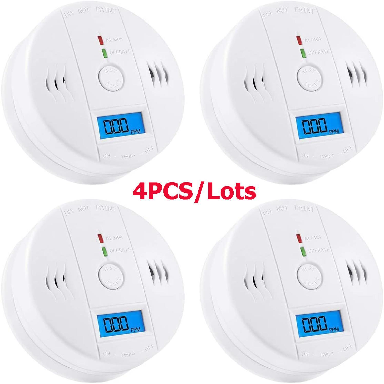 4 Uds de monóxido de carbono Detector de alarma de CO Detector Sensor de Gas con alarma de pantalla Digital Reloj de advertencia para casa