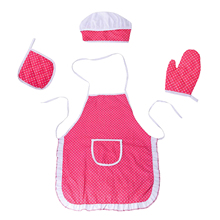 4Pcs/Lot Child Chef Dress Up Clothes Cooking Baking Tools Pretend Play Kitchen Apron Chef Kitchen Play House Toy