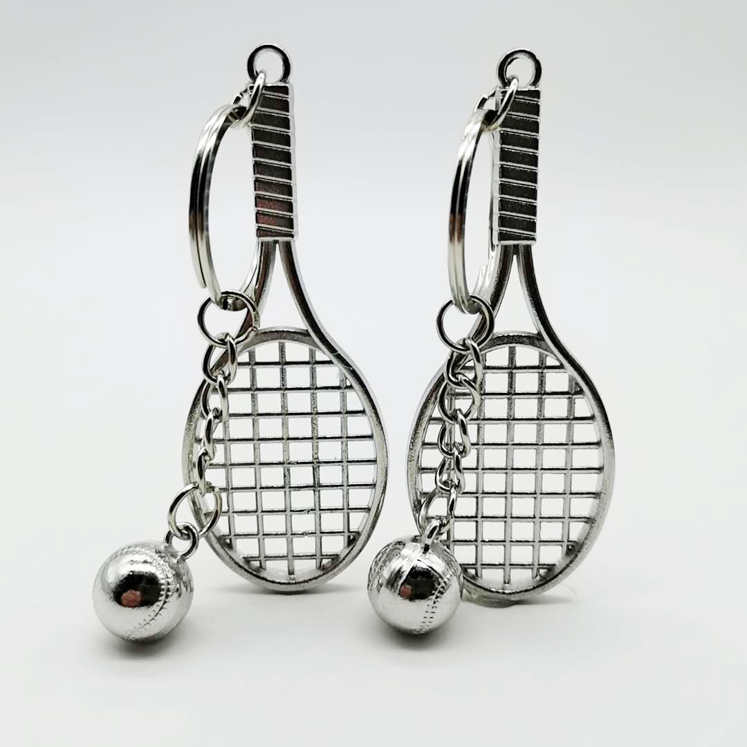 Alloy Tennis Racket Keychain Bag Pendant Key Ring Sports Key Chain Gifts Promotional Gifts K2398