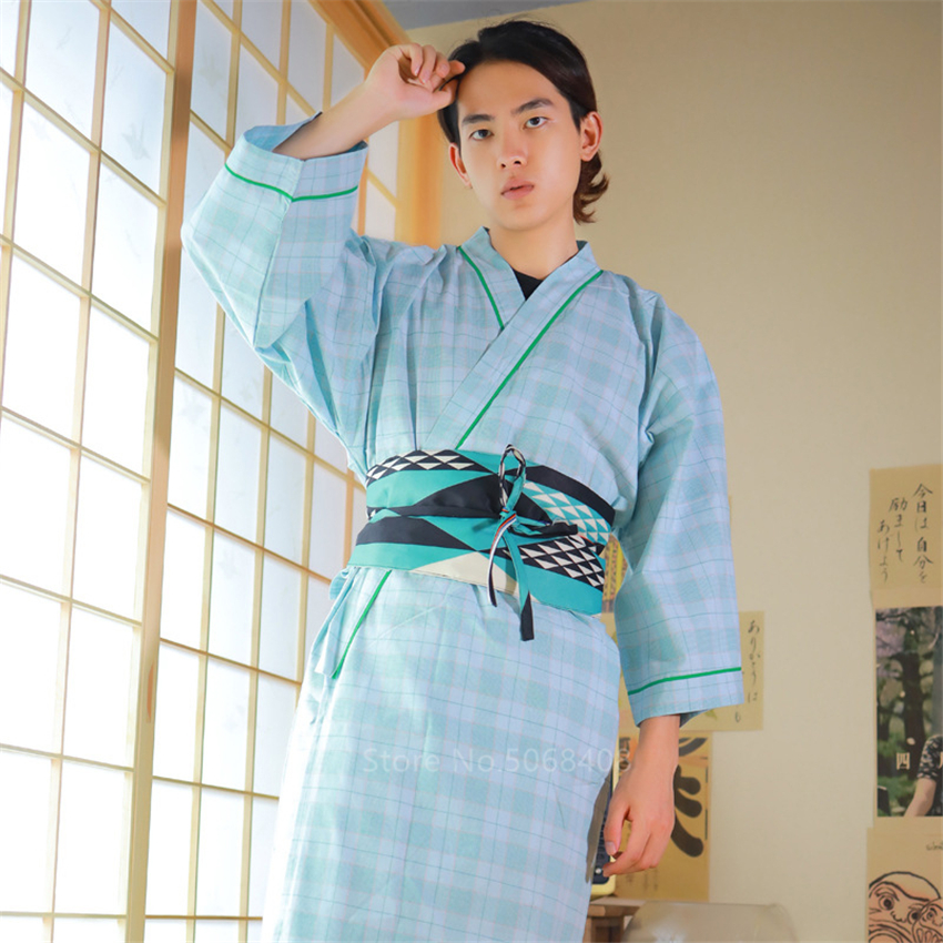 Men Samurai Costume Japanese Style Traditional Costume Warrior Yukata Haori Obi Robe Sleepwear With Belt One Size Blouse Spa