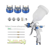 цена на 601 spray gun HVLP SPRAY GUN gravity feed tainless steel nozzle 1.4mm 1.7mm 2.0mm auto Car face Paint spray gun