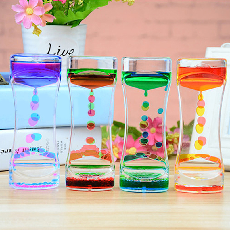 1pcs Double Color Sand Hourglasses Floating Oil Liquid Visual Motion Timer Glass Acrylic Clock Home Decoration Desk Ornament(China)