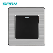 SRAN-interruptor basculante estándar UK, 1 entrada, 1 vía, 250V, 16A, panel de acero inoxidable, 86mm x 86mm, Blanco/Negro/dorado