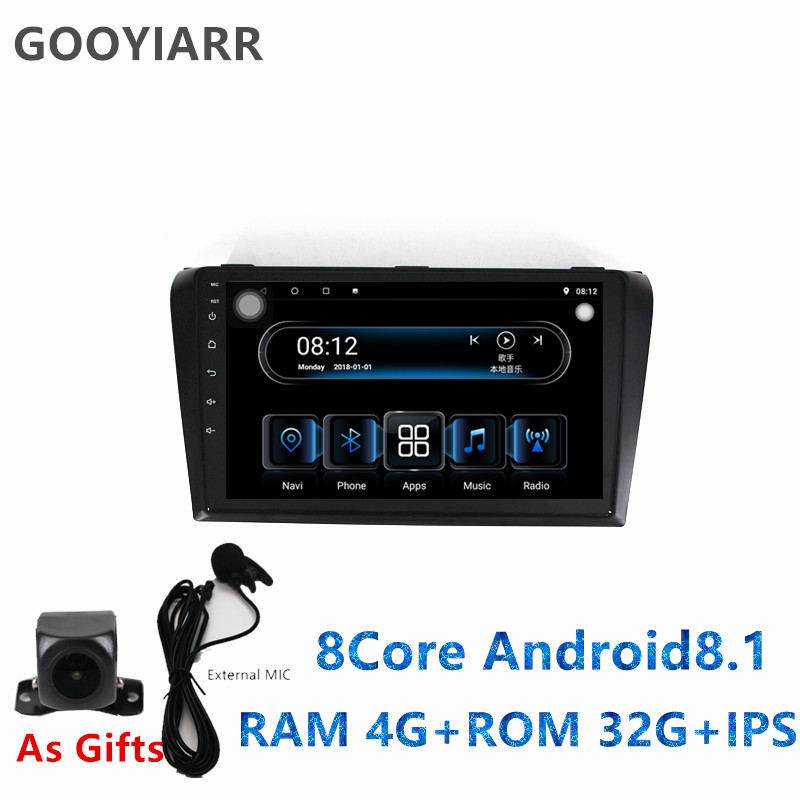 1din Android8.1 car stereo radio 8core <font><b>Multimedia</b></font> Player <font><b>for</b></font> <font><b>Mazda</b></font> <font><b>3</b></font> Mazda3 2004 2005 2006 <font><b>2007</b></font> 2008 2009 with IPS GPS navi image
