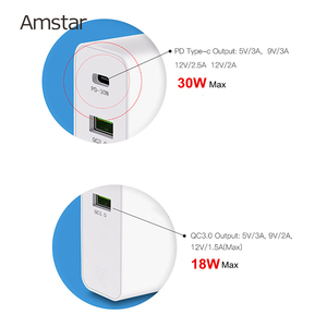 Image 2 - Amstar 48W Quick Charge QC4.0 3.0 USB C Fast Charger for iPhone 11 Pro XS Samsung 10 Huawei 30W PD Charger Type C Travel Adapter