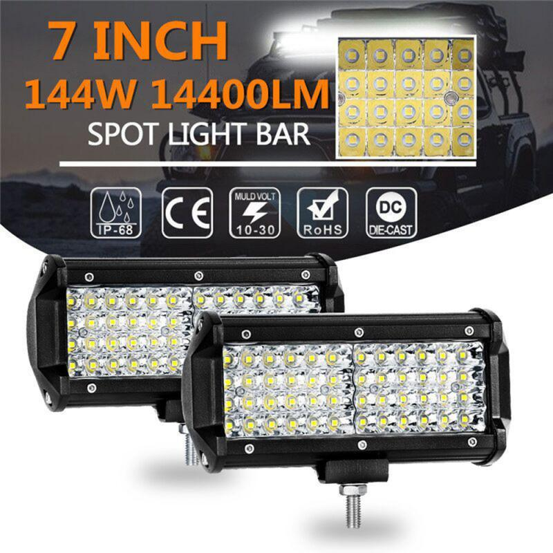 1/2 Pcs 7 Inch 144W 48LED Work Light Bar Spot Beam Driving Fog Lamp Off-Road Tractor 4WD Car Accessories Led Auto Dropshipping